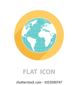 Globe icon with vector map. vector illustration