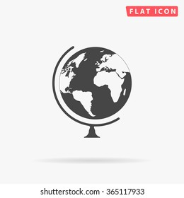Globe Icon Vector. Simple flat symbol. Perfect Black pictogram illustration on white background.