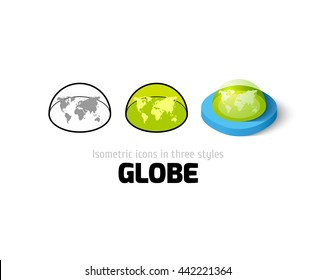 Globe icon, vector symbol in flat, outline and isometric style