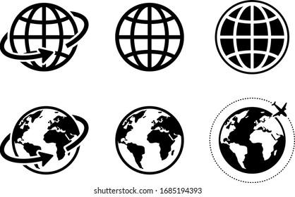 globe icon of web image set