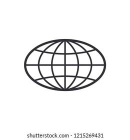 Globe Icon. World symbol. Oval globe. Icon world. Globe symbol. Earth sign. Logo template. Color easy to edit. Transparent background.