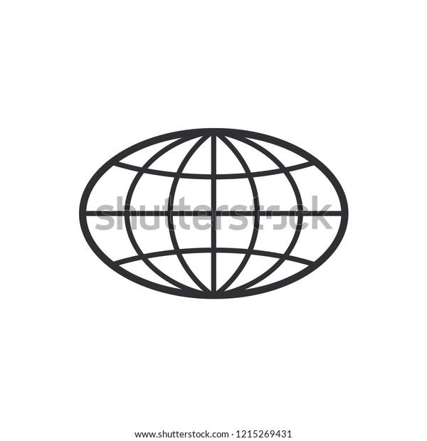 Globe Icon World Symbol Oval Globe Stock Vector (Royalty
