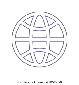 Globe Icon. World symbol. Vector. Violet linear icon on white background. Isolated.