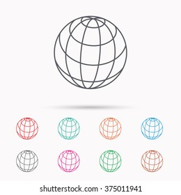 Globe icon. World travel sign. Internet network symbol. Linear icons on white background.
