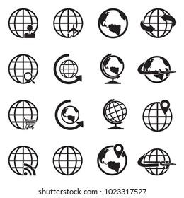Globe Icons. Black Flat Design. Vector Illustration.
