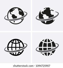 Globe Icons set. Vector global earth