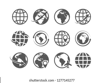 Globe icons set. World earth globe map internet global commerce tourism vector symbols set