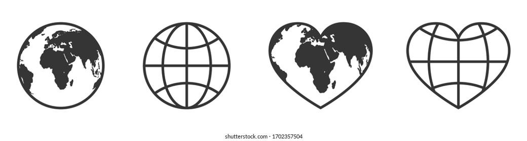 Globe icons set. World map symbol isolated. Vector illustration. Globe icon in shape of heart