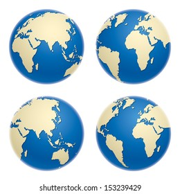 Globe icons, vector illustration