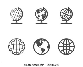 Globe icons. Vector illustration.