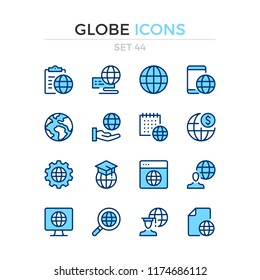 Globe icons. Vector line icons set. Premium quality. Simple thin line design. Modern outline symbols, pictograms.