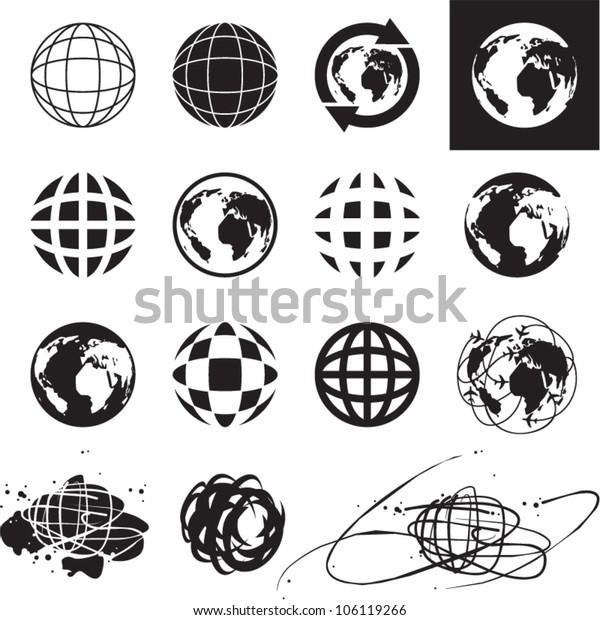 Globe icons. Vector globe sign set.