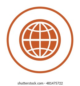 Globe icon,vector. Flat design.