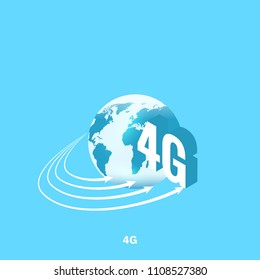 The globe and inscription 4G, isometric image