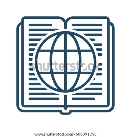 Globe Inside Book Vector Icon Meaning Stock Vector Royalty Free