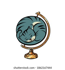 globe international the cat is curled up in a ball and sleeps comics illustration drawing