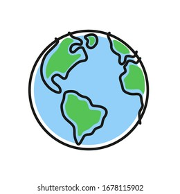 The globe isolated on a white background. Icon, icon of the flat planet Earth in a simple drawing style. Vector illustration