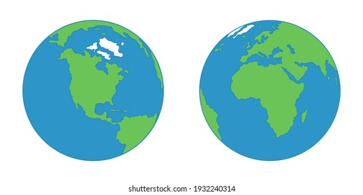 Globe isolated on a white background. Flat planet Earth icon.