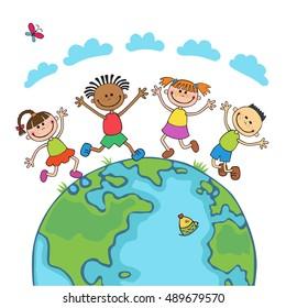 Globe kids on globe. International friendship day. Earth day. Vector illustration of diverse Children Holding Hands. jumping