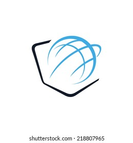 Globe and laptop sign Branding Identity Corporate vector logo design template Isolated on a white background