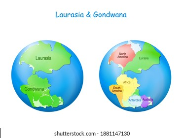 globe with Laurasia and Gondwana, continental borders, and ocean Tethys. Gondwana and Laurasia formed the Pangaea supercontinent. Maps. Continental drift theory. planet Earth millions years ago
