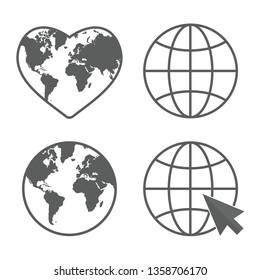 Globe line icon Set. Earth care logo. World map. Sample vector illustration