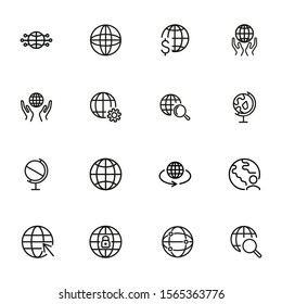 Globe line icon set. World, network, hands. Global concept. Can be used for topics like worldwide business, planet, global communication