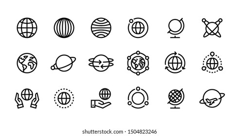 Globe line icons. World earth outline symbols for web interfaces, planet country map travel design template. Vector illustration stroke global travel set