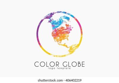 Globe logo. Color globe. Earth logo design. Creative world logo. Color world
