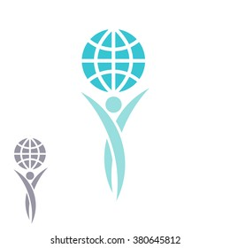 Globe logo man hands up planet together, achievement success creative idea, save Earth emblem mockup