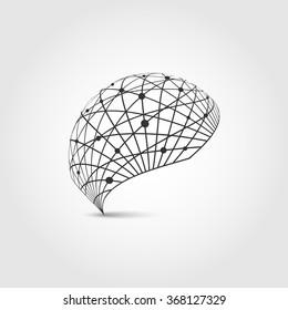 Globe logo. Globe sign.  Vector Illustration. Design template earth. Global network icon. Abstract background. World logo.