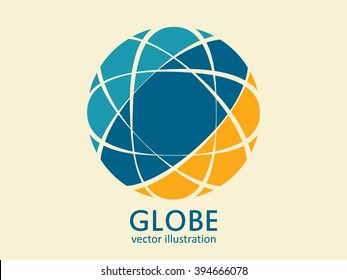 Globe logo template. Geometric globe icon. Vector abstract design