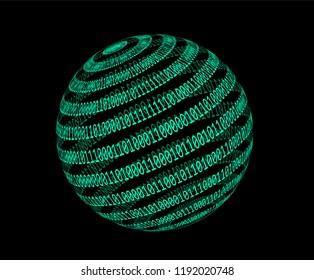 Globe made from binary code on dark bakcground. Logotype template for hackathon in futuristic/ cyberpunk style.