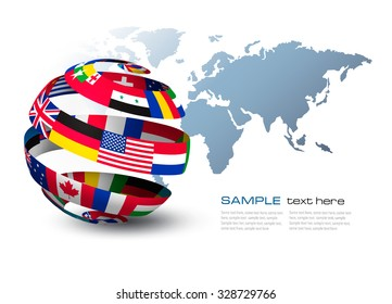 Similar images stock photos vectors of world flags form speech globe made out of flags on a world map background vector freerunsca Image collections