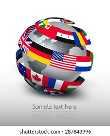 International flags globe images stock photos vectors shutterstock globe made of a strip of flags vector freerunsca Image collections