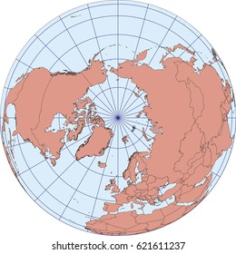 Globe Map centered on The North Pole. Ortographic projection with graticule. Elements of this image furnished by NASA. vector map