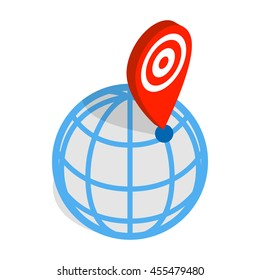 Globe and map pointer icon in isometric 3d style on a white background