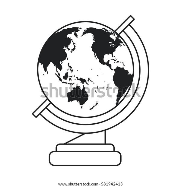 globe map school design thin line