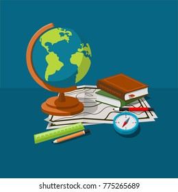 Globe, maps, compass and others school subjects. School and study subjects. Geography science vector illustration. Education and science banners.