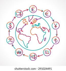 Globe with money cycle symbol. Various currencies signs. Banking, international trading, money exchange, financial system concept. Transparent colorful line vector illustration