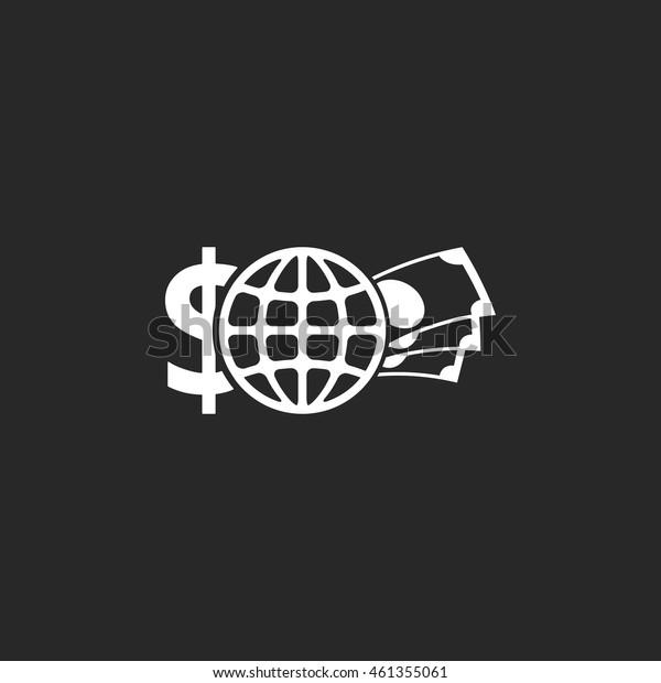Globe money Economics school subject symbol sign simple icon on background