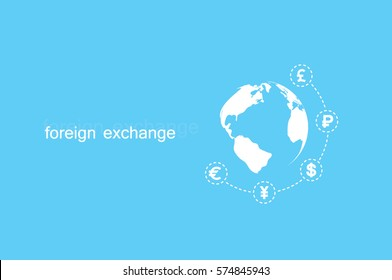 Globe and money icon vector EPS 10, abstract sign currency exchange flat design,  illustration modern isolated badge for website or app - stock info graphics..