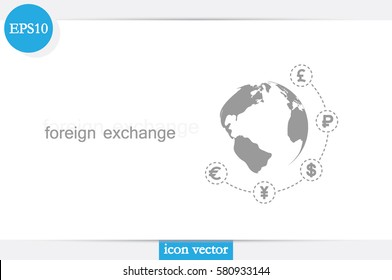Globe and money icon vector EPS 10, abstract sign currency exchange flat design,  illustration modern isolated badge for website or app - stock info graphics