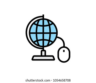 globe and mouse icon design illustration,cartoon design style, designed for print and web