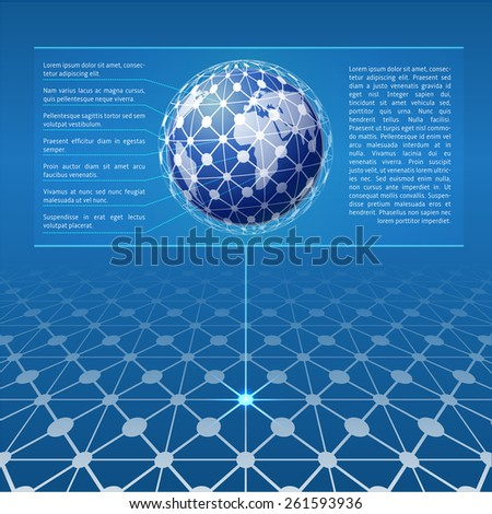 globe network connection blue background information stock vector