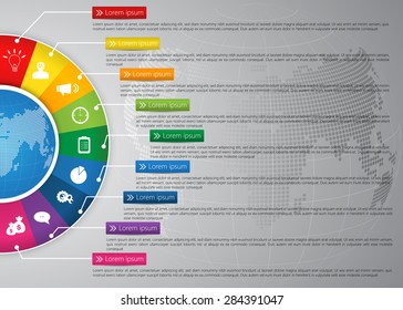 Globe on Colorful Half Circle & Globe Abstract Background, 9 Options, Financial and Business Infographic, Business Icon and Text Information Design. Vector Illustration.