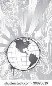 Globe on detailed paisley background