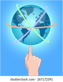 Globe on finger