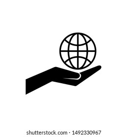 Globe on hand icon isolated on white background. Globe on hand icon simple sign. Globe on hand icon trendy and modern symbol for graphic and web design. hands holding globe earth web black icon.