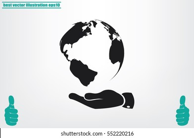 globe on palm icon vector illustration eps10. Isolated badge for website or app - stock infographics